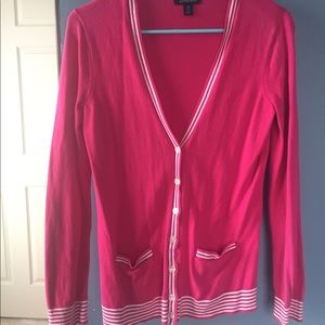 Hot pink cardigan with white piping